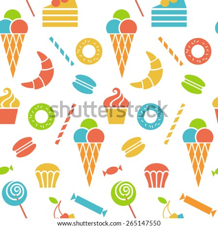 Vector seamless pattern with sweet dessert food. Confectionery texture from sweet-shop, pastry-shop. Cute illustration for print, web - stock vector