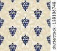 Vector seamless pattern with swirls and floral motifs in retro style. - stock photo