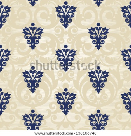 Vector seamless pattern with swirls and floral motifs in retro style. - stock vector