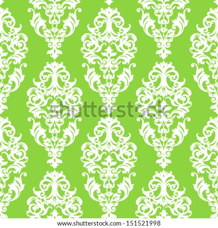 Vector seamless pattern with swirls and floral motifs in retro style. Bright colorful  background in Victorian style. - stock vector