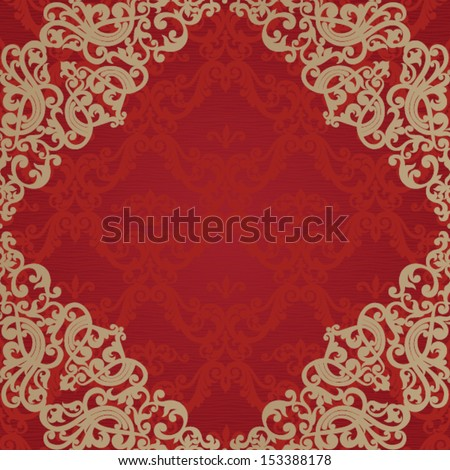 Vector seamless pattern with swirls and floral motifs in retro style. Bright red background in Victorian style. - stock vector