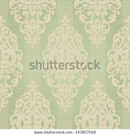 Vector seamless pattern with swirls and floral motifs in retro style.  Victorian background of light green color. - stock vector