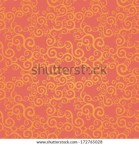 Vector seamless pattern with swirls motifs. Bright scroll work background. It can be used for wallpaper, pattern fills, web page background, surface textures. - stock vector