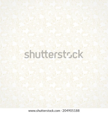Vector seamless pattern with swirls motifs in retro style. Light scroll work background. Beige element for design. Ornamental backdrop and lace wallpaper. Endless texture. Monochrome pattern fill. - stock vector