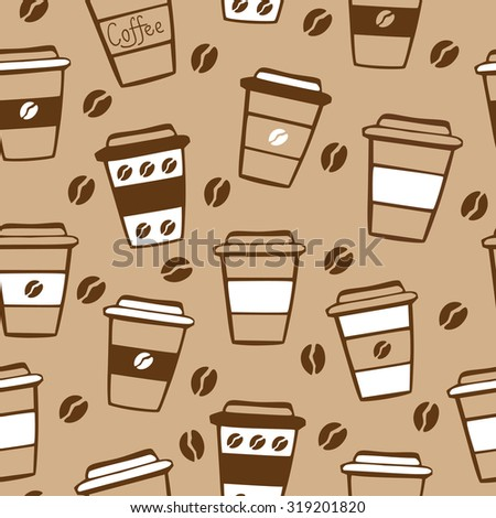 Vector seamless pattern with take away coffee cups and coffee beans in brown, white and light beige colors. - stock vector