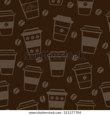 Vector seamless pattern with take away coffee cups and coffee beans. Neutral background in dark brown and light beige colors. - stock vector