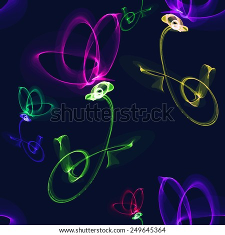 Vector seamless pattern with the image of a glowing neon flower. Image and background are on separate layers. - stock vector