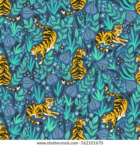 Vector Seamless Pattern With Tigers In The Jungle Tropical Background For Fabric Or Wallpaper Boho