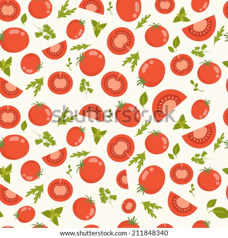 Vector seamless pattern with tomatoes - stock vector