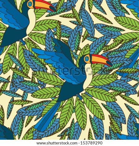 Vector seamless pattern with toucan and leaves - stock vector