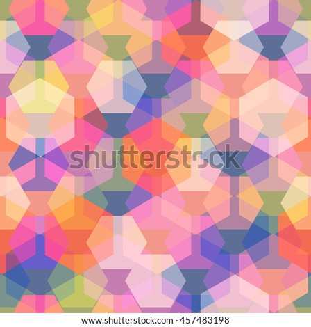 Vector seamless pattern with transparent sparkling pentagons and hexagons. EPS8 - stock vector