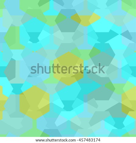Vector seamless pattern with transparent sparkling pentagons and hexagons. EPS8. Pastel blue color palette - stock vector