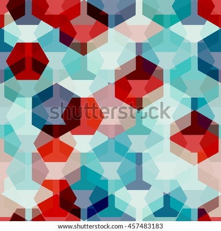 Vector seamless pattern with transparent sparkling pentagons and hexagons. EPS8. Turquoise and red color palette