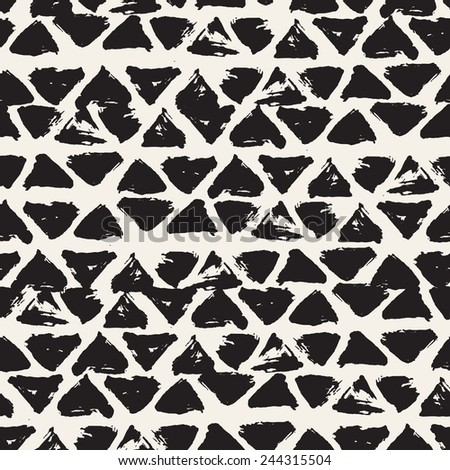 Vector seamless pattern with triangles. Abstract background. Monochrome texture from brush strokes - stock vector