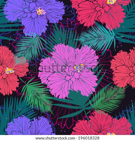 vector seamless pattern with tropic flowers - stock vector