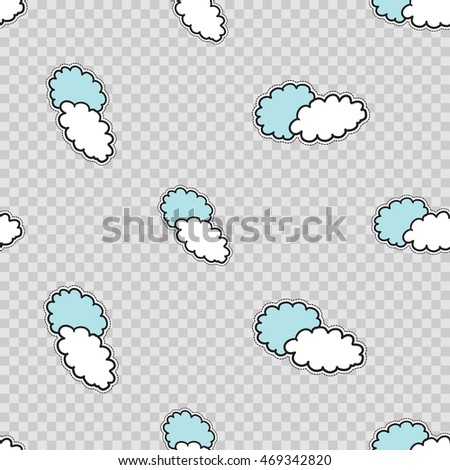 Vector seamless pattern with two clouds. Hand drawn cute and funny fashion illustration patches or stickers kit. Modern doodle pop art sketch badges and pins