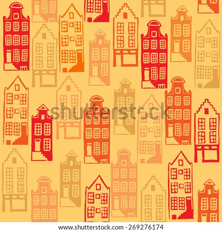 Vector seamless pattern with typical Amsterdam houses. Hand linocut illustration with bright colors - stock vector