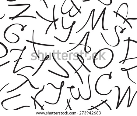 Vector seamless pattern with unique artistic letters of alphabet on white background.