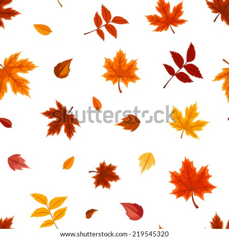 Vector seamless pattern with various colorful autumn leaves on a white background. - stock vector