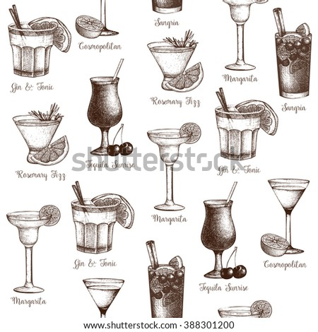 Vector seamless  pattern with vintage alcoholic cocktails sketch isolated on white. Ink hand drawn drinks and ingredients background for bar or restaurant menu - stock vector