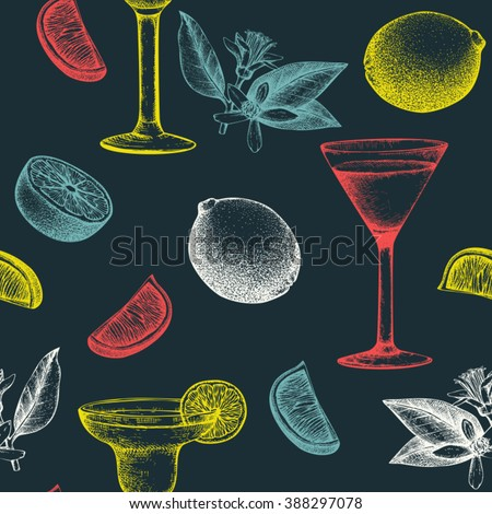 Vector seamless pattern with vintage alcoholic cocktails sketch with lime. Lime hand drawn drinks background for bar or restaurant menu - stock vector