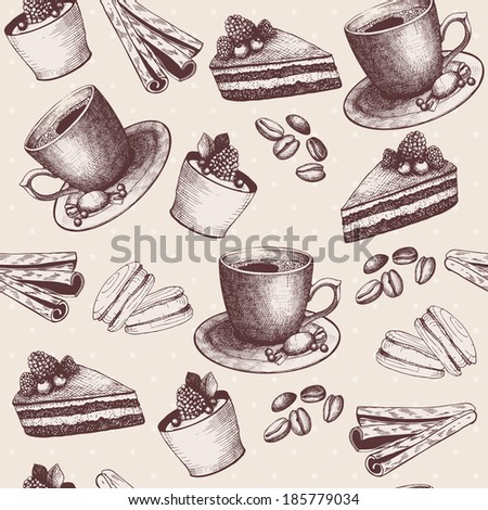 Vector seamless pattern with vintage hand drawn coffee and dessert illustrations - stock vector