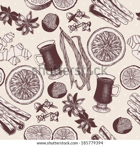 Vector seamless pattern with vintage hand drawn mulled wine and spices illustrations. - stock vector