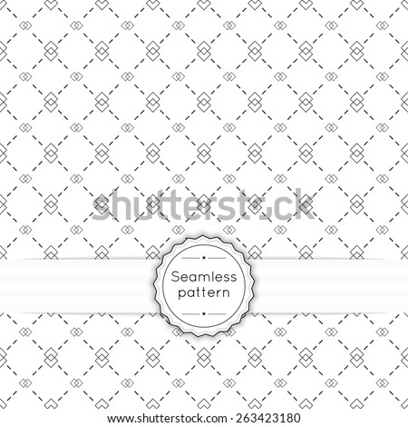 Vector seamless pattern with vintage old banner and ribbon. Repeating geometric shapes, diagonal, line, arrow,  rhombus, diamond - stock vector