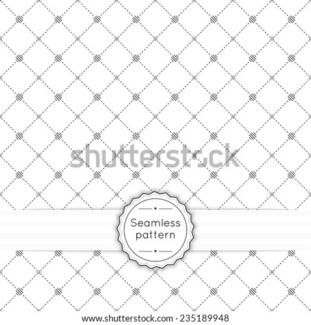 Vector seamless pattern with vintage old banner and ribbon. Repeating geometric shapes, diamond, cross, rhombus, diagonal dotted line, circle, dot, polka - stock vector