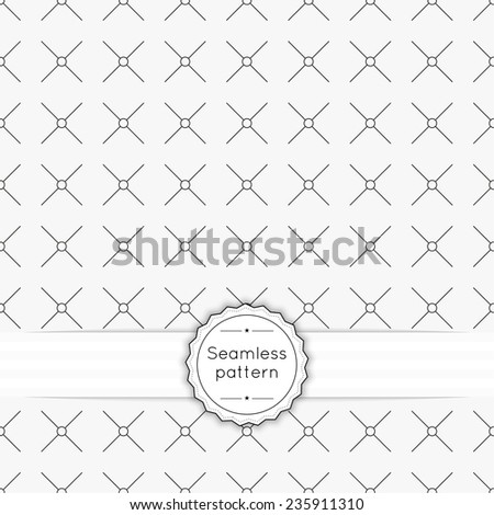 Vector seamless pattern with vintage old banner and ribbon. Repeating Geometric shapes, diamond, cross, rhombus, circle, diagonal line, dot - stock vector