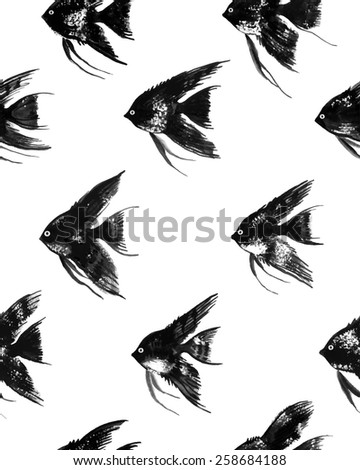 Vector seamless pattern with watercolor black angelfish on white background