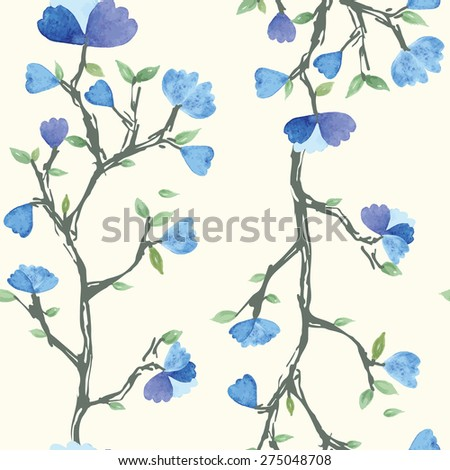Vector seamless pattern with watercolor blue flowers, design for textile, paper, background. invitation, wedding or greeting cards Vector illustration eps 10 - stock vector