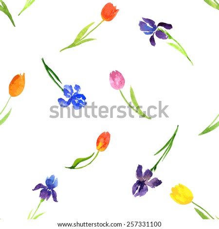 vector seamless pattern with watercolor garden flowers, hand drawn vector illustration - stock vector