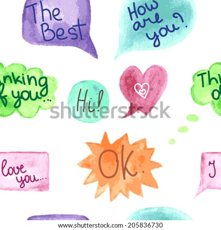 Vector seamless pattern with watercolor speech bubbles - stock vector