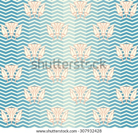 Vector seamless pattern with waves and lilies - stock vector