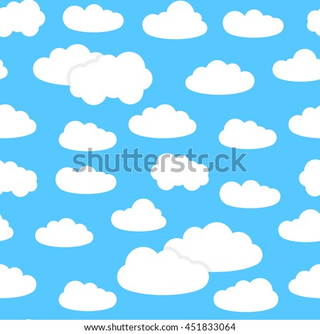 Vector seamless pattern with white cumulus clouds on the blue background.