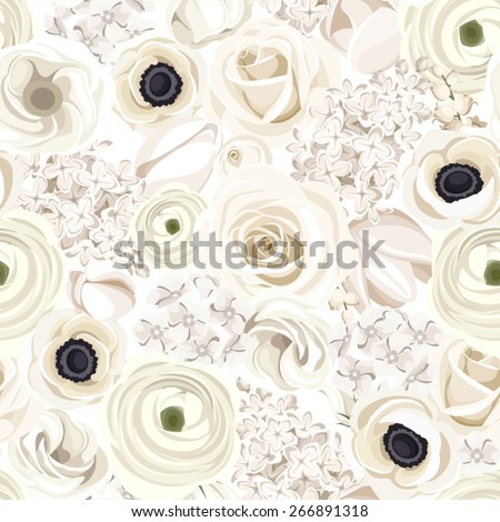 Vector seamless pattern with white roses, lisianthuses, ranunculus, anemones, tulips, lilac, lily of the valley and hydrangea flowers. - stock vector
