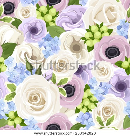 Vector seamless pattern with white roses, purple lisianthuses and anemones and blue hydrangea.  - stock vector