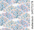 Vector seamless pattern with winter forest, eps10 - stock