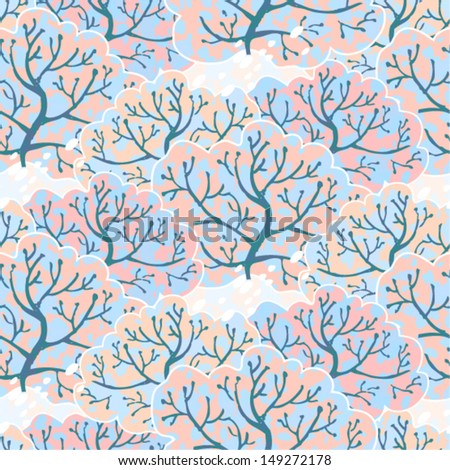 Vector seamless pattern with winter forest, eps10 - stock vector