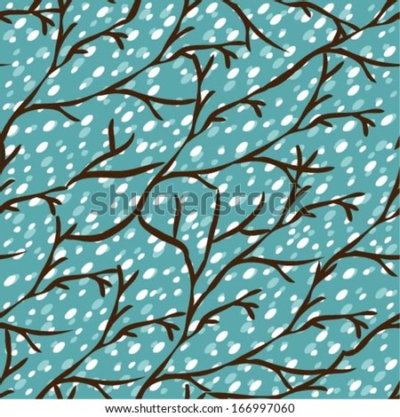Vector seamless pattern with winter trees, eps10
