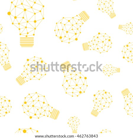 Vector seamless pattern with yellow bright geometric light bulbs with lines and dots.