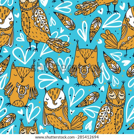 vector seamless pattern with yellow owls and abstract hearts - stock vector