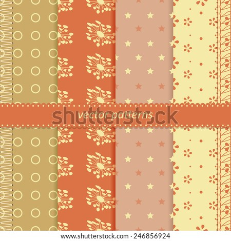 Vector seamless patterns. - stock vector