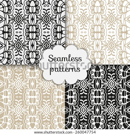 Vector seamless patterns set. Geometric stylish background. - stock vector