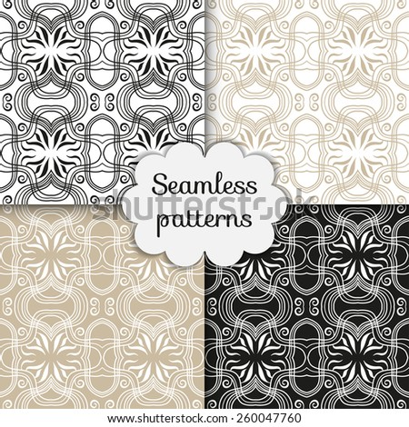 Vector seamless patterns set, hand drawn line art. Geometric stylish background. - stock vector