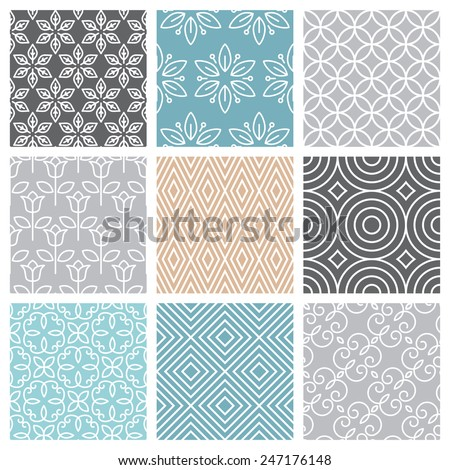 Vector seamless patterns set in trendy mono line style - 9 minimal and geometric textures - stock vector