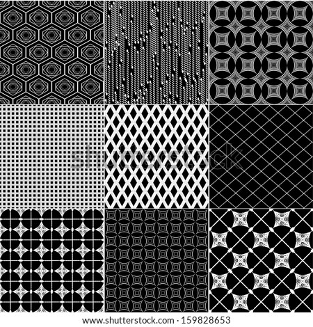 Vector seamless patterns, set of nine backgrounds.