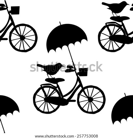 Vector seamless patterns with the bike, bird and umbrella-3 - stock vector