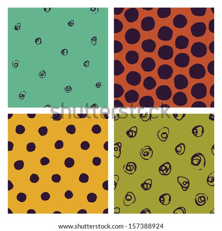 vector seamless patterns with various hand-drawn dots - stock vector
